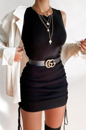 MODAGEN Kadın Siyah Yanları Büzgülü Kolsuz Kaşkorse Elbise 0