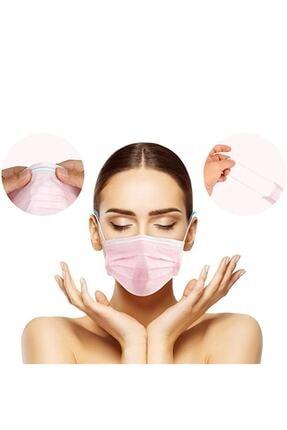 Moda Maske Pembe Renk Ultrasonik 3 Katlı Telli Tek Kullanımlık Cerrahi Maske - 50 Adet 0
