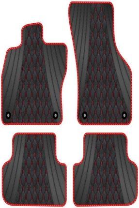 Infiniti Fx35 S50 2002-2009 Bordo Dikişli Siyah Deri Desenli Yeşil Kenarlı Paspas BRDDR9918