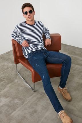 TRENDYOL MAN Indigo Erkek Skinny Tırmıklı Jeans TMNSS20JE0331 0