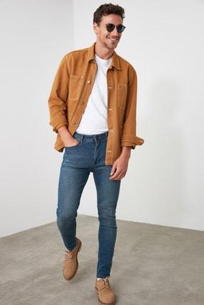 TRENDYOL MAN Indigo Erkek Tırmık Destroylu Tapared Skinny  Jeans TMNAW21JE0168 2
