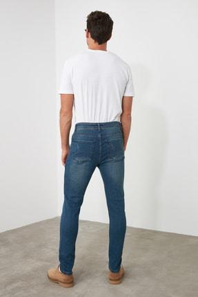 TRENDYOL MAN Indigo Erkek Tırmık Destroylu Tapared Skinny  Jeans TMNAW21JE0168 4