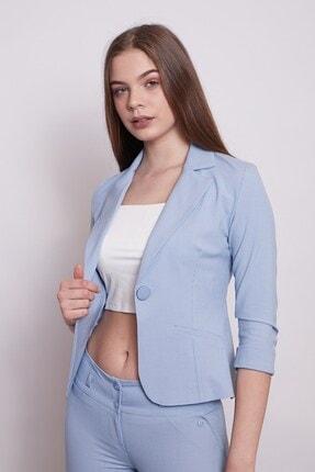 Jument Desenli Duble Kol Kısa Blazer Kumaş Ceket-mavi 3