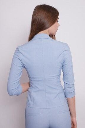 Jument Desenli Duble Kol Kısa Blazer Kumaş Ceket-mavi 4