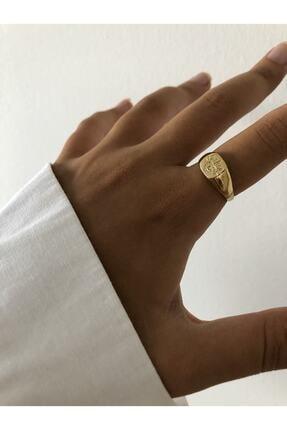 The Y Jewelry Kadın Sarı Göz Detaylı Minimal Yüzük 1