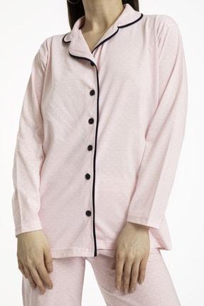 TAMPAP Kadın Düğmeli Pijama Takımı Puantiyeli 120 3