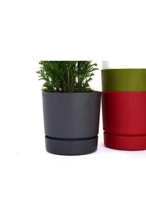 leogarden Begonya Tasarım Antrasit Renkli 1.8 Lt Akıllı Saksı 1