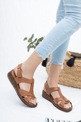 Deripabuc Hakiki Deri Taba Kadın Deri Sandalet Crz-0551 1