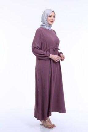 MODA MAHPERİ Keten Aerobin Büyük Beden Tesettür Elbise Beli Ayarlamalı Keten Ayrobin Elbise 2