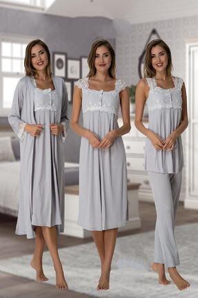 Effort Pijama Zerre Bebe Kadın Gri Pijama Takımı Gecelik Sabahlık Lohusa Hamile 4'lü Set 2305 0