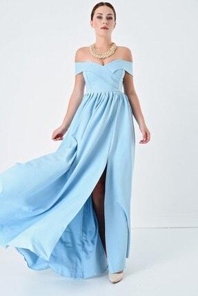 Kadın Bebe Mavi Yırtmaçlı Uzun Abiye TYC00135826339