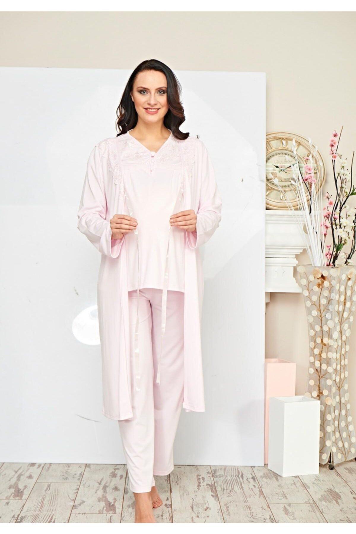Poleren Kadın 3 Lü Sabahlık Lohusa Pijama Takım