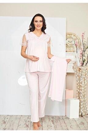 Poleren Kadın 3'lü Sabahlık Lohusa Pijama Takım 5692 2