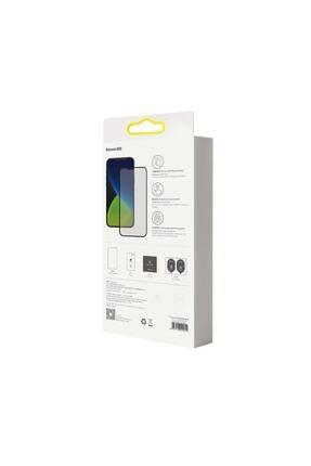 Baseus 2x Tam Ekran 0,25 Mm Çerçeveli Buzlu Temperli Cam Iphone 12 Mini Siyah 4