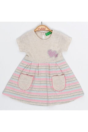 Kız Çocuk Çizgili Elbise ELBİSE