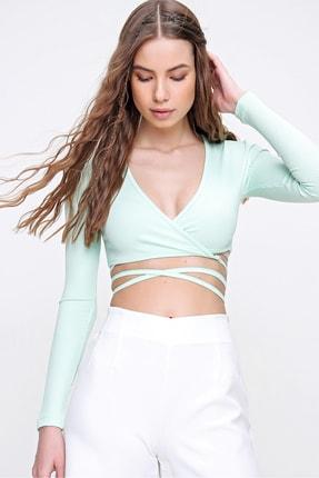 Trend Alaçatı Stili Kadın Su Yeşili Kruvaze Yaka Bağlamalı Crop Bluz ALC-X6059 3