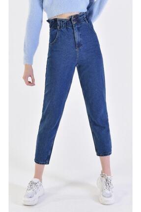 Renk S.o.l.m.a.z Mavi Jeans Kadın Beli Lastikli Yüksek Bel Mom Jeans WMNJNS_002