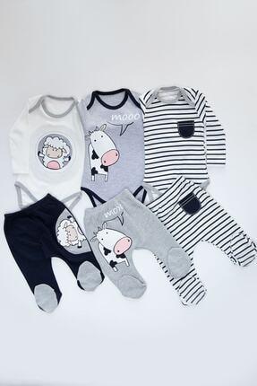 Mika Bebek Erkek Bebek Beyaz Kuzu İnek Desenli 6 Parça 3 Set Çıtçıtlı Takım 0