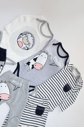 Mika Bebek Erkek Bebek Beyaz Kuzu İnek Desenli 6 Parça 3 Set Çıtçıtlı Takım 1