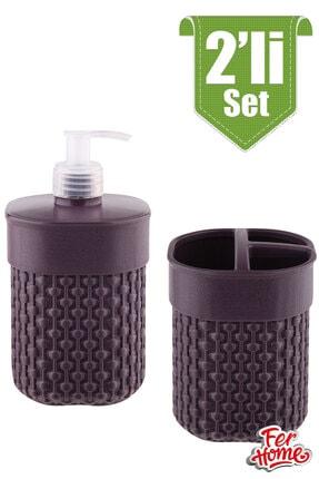 FERHOME 2'li Banyo Seti Sıvı Sabunluk Diş Fırçalığı Banyo Seti Diş Fırçalık Sıvı Sabunluk Deterjanlık 3