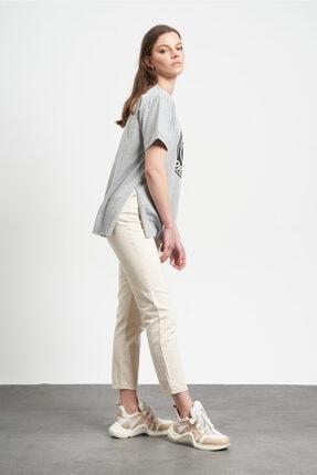 Tena Moda Kadın Gri Eskitme Mickey Mouse Baskılı  T-Shirt 2