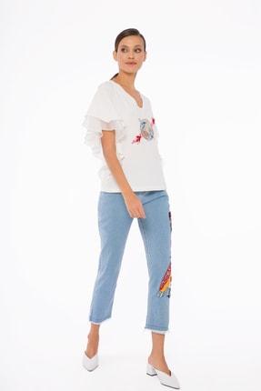 GIZIA Kadın Mavi İşlemeli Pantolon M1d040 1
