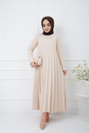 Moda Krash Kadın Bej Piliseli Soley Elbise 0