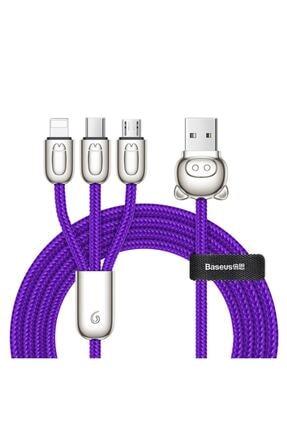 Baseus 3in1 Usb Kablo Three Little Micro Ligtning Type-c 3.5a 1.2m Çinko Hızlı Şarj Data Kablosu 0