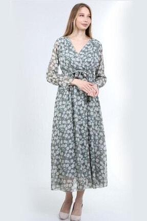 Kadın Yeşil Kruvaze Yaka Mini Çiçek Desenli Büyük Beden Elbise ELBISEDELISI-0056