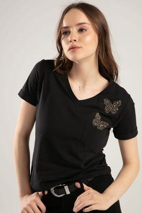 Pattaya Kadın V Yaka Kelebek Detaylı Duble Kol Tişört Y20s134-1138 2