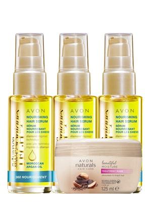 Avon Fas Argan Yağı Serum Ve Çikolata Brezilya Fındığı Saç Maskesi Paketi 0