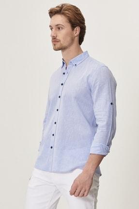 Altınyıldız Classics Erkek Açık Mavi Tailored Slim Fit Dar Kesim Düğmeli Yaka Keten Gömlek 1