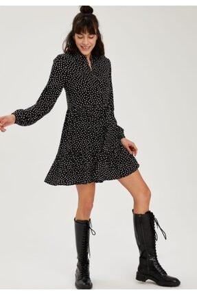 Defacto Kadın Volan Detaylı Dokuma Gömlek Elbise 0
