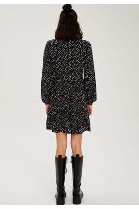 Defacto Kadın Volan Detaylı Dokuma Gömlek Elbise 2