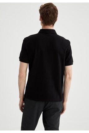 Defacto Regular Fit Polo Yaka Basic Kısa Kollu Siyah Tişört 3