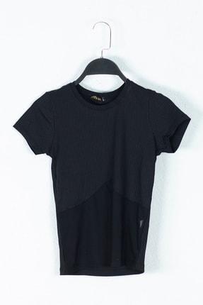 Kadın Altı Tül Detaylı Slim Fit Tişört M0000795