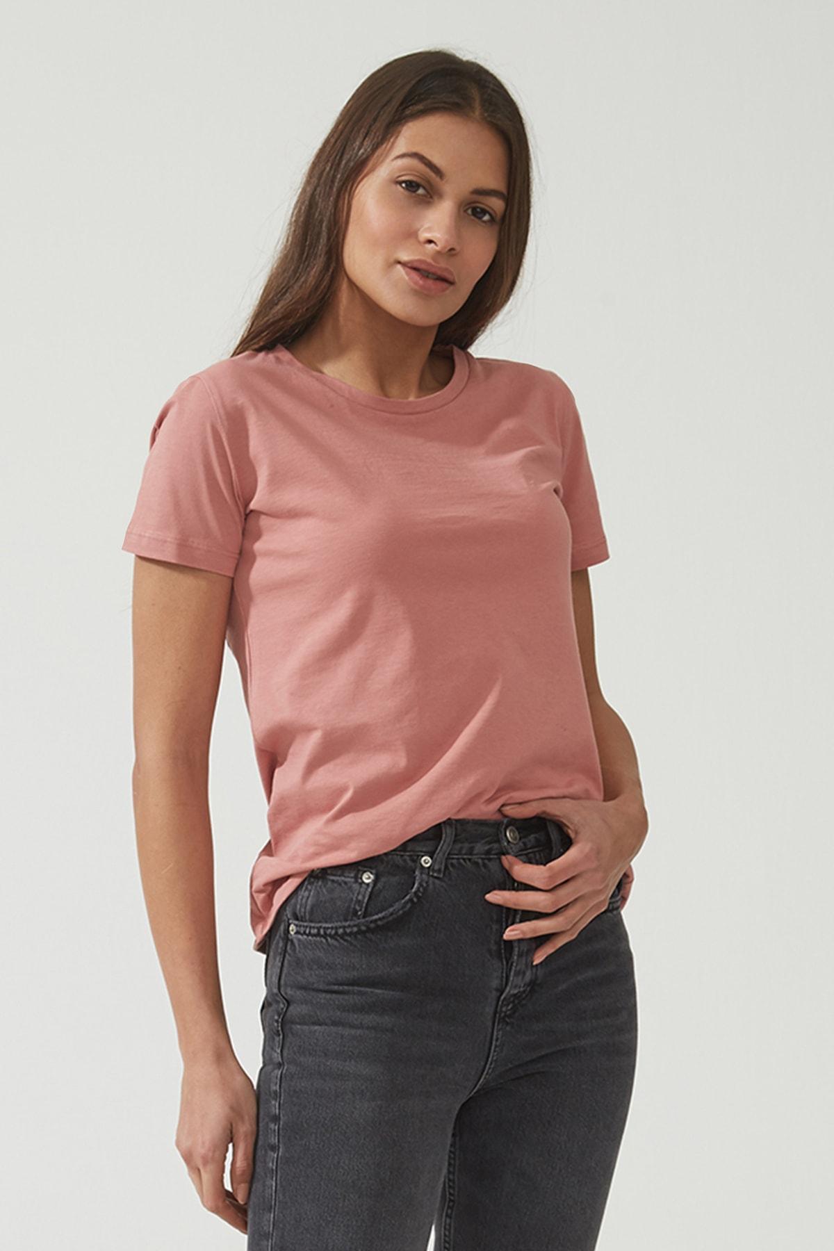 Kadın Gül Kurusu Bisiklet Yaka Regular Basic T-shirt 55795-615
