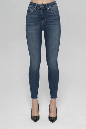 CROSS JEANS Judy Koyu Mavi Yüksek Bel Paçası Kesikli Yanı Dikişli Skinny Fit Jean Pantolon 1