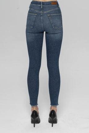 CROSS JEANS Judy Koyu Mavi Yüksek Bel Paçası Kesikli Yanı Dikişli Skinny Fit Jean Pantolon 2