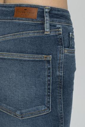 CROSS JEANS Judy Koyu Mavi Yüksek Bel Paçası Kesikli Yanı Dikişli Skinny Fit Jean Pantolon 4