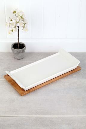 ACAR Bambu Standlı Porselen Lüx Servis 30 cm 0