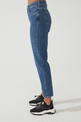 CROSS JEANS Kadın Ariana Orta Mavi  Yüksel Bel Mom Jeans Pat Fermuarlı Pantolon C 4525-008 C 4525-008 3