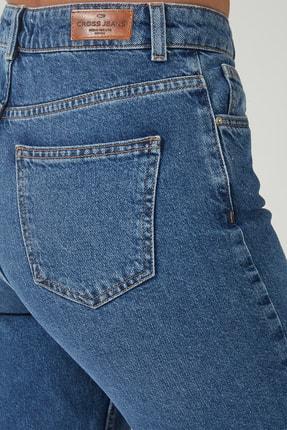 CROSS JEANS Kadın Ariana Orta Mavi  Yüksel Bel Mom Jeans Pat Fermuarlı Pantolon C 4525-008 C 4525-008 4