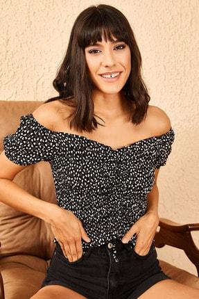 Bianco Lucci Kadın Siyah Madona Yaka Gipeli Önü Ayarlanabilir Bluz 10951022 1