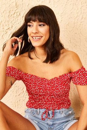 Bianco Lucci Kadın Kırmızı Gipeli Önü Ayarlanabilir Bluz 10951022 4