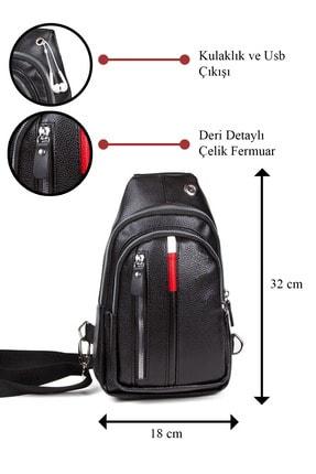 Av A Dos Unisex Siyah Deri Kulaklık Çıkışlı Çapraz Askılı Bel Omuz Çanta 1
