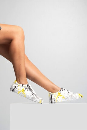 GRADA Kadın Renkli Baskılı Hakiki Deri  Sneaker Ayakkabı 0