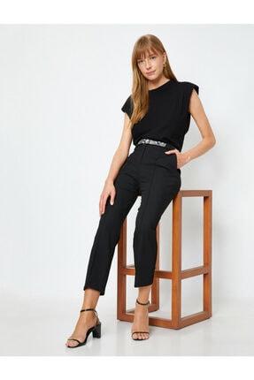 Koton Kadın Siyah Kemer Detaylı Pantolon 1