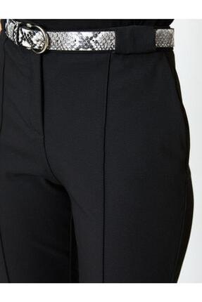 Koton Kadın Siyah Kemer Detaylı Pantolon 4