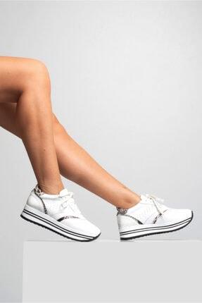 GRADA Beyaz Hakiki Deri Kalın Taban Sneaker Ayakkabı 0